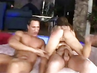 Hungry for cock brunette gets slammed by two hunks in threesome