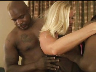 Blond MILF takes on three black cocks