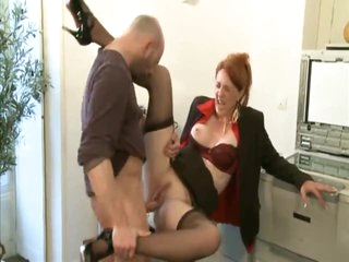 Milf redhead in business suit slammed
