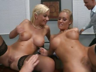 Office licking with Nicole Aniston and Lexi Swallow