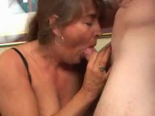 Chubby mature in corset fingers and sucks cock