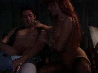 Skinny redhead fucked as her man watches