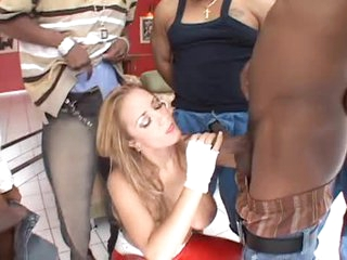 Latex pants hottie sucks big black cocks