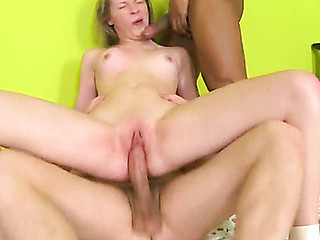 Neat chick gets nailed doggystyle then rides huge dick