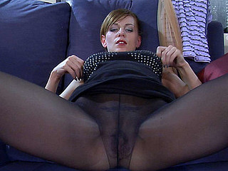 Breasty hottie makes a widen-eagle and pulls her hose up to her boobs