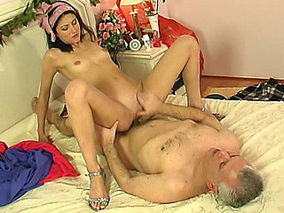 Sleeping angel waked up by a horny oldie having a large hard-on for her to eat