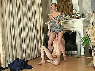 Lascivious mother i'd like to fuck treating younger guy like her humble sex toy for fucking