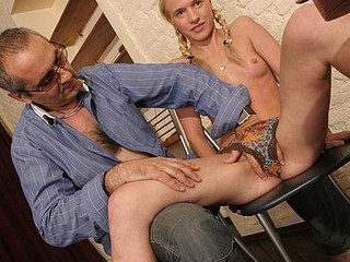 Kinky old teacher tricks his extremely dumb coed for kinky sex and copulates her brutally on the floor
