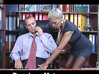 Sexy older secretary seduces her younger boss and gets nailed on the desk