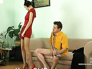 Darksome-haired cutie in a red dress and pumps makes an old stud have hawt pants