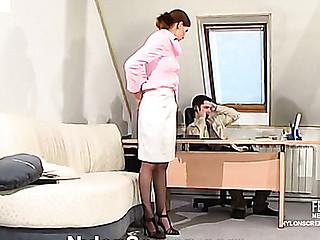 Lusty secretary in silky nylons giving legjob itching for rigid award