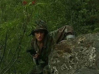 Busty brunette soldier catches a dude and blows and bangs for messy facial