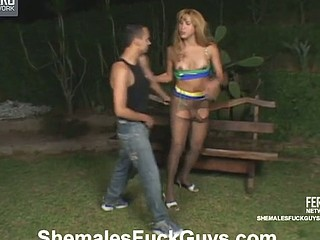 Gorgeous shemale seducing steamy guy into mind-blowing arse-riding frenzy