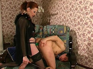 Lewd strap-on armed chick is about to fuck the brains out of her chap-whore