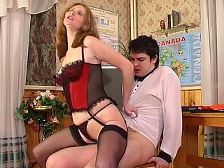 Bossy hottie in full-fashioned nylons treating a guy like her humble servant