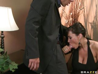 Lisa Ann, is the sexiest and the most busty milf you could dreamed of! And when  this super hot lady gets horny she does not care about the place or people. In a fancy party this busty housewife got a nice bone to dry off her wet pussy and cool her busty big boobs. So she treated the big dick with variety of blowjob and fed her amazing boobs and nice ass to the guy. And the boned guy took off her panty. You know  what happens next!