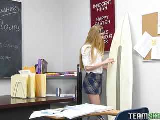 Avrill is a 21 years old babe at she is still in high school. She knows to handle her teacher and always try to keep them happy. Here this long haired bitch is showing her nice and natural tits to her teacher and then taking the full control of the situation by sucking his dick like a hungry whore.