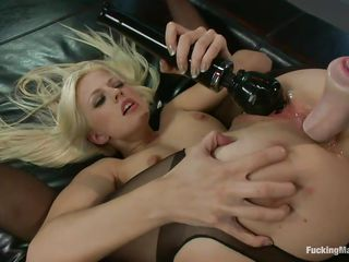 Jessie discovered the pleasure of being fucked by a machine. Her tight oiled anus is being drilled by the dildo attached on that fucking machine and because she's a horny bitch she uses a vibrator to rub her clitoris too. After fucking her anus it's time for that pink wet pussy of hers so she keeps on the pleasuring.