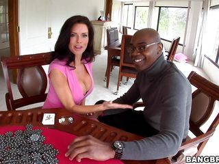Veronica Avluv is playing poker with her friend, but she wants to raise the stakes a bit and so does he. He grabs a hold of those huge tits of hers and sucks on them for a bit. She gets his cock out and plays with it, even measuring it with a stack of chips, then starts sucking. Poker is exciting!