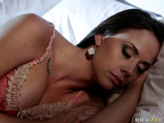 This gorgeous babe is taking a nap in her bed like a good girl until she wakes up because there is a fight in her house and a guy shoots her husband. Look at her big tits, juicy lips and very hot legs, this is what makes this guy grab her by the neck and starts undressing her so he can fuck this slut. Althought he shoot her husband she gets excited and starts rubbing his cock, is this slut going to receive a huge load in her mouth?