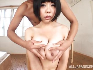 Japanese babe Sakura has a pair of big, soft, tender breasts. This guy squeezes them without mercy. He grabs those jugs and puts some pressure on them in front of the camera for our pleasure. Sakura stays there with obedience and bears the rough groping. What else will she take from him? His cock?