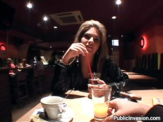 Hot bitch Defrancesca is drinking a juice with a man at a nice restaurant. He becomes turned on and wants to film her while she gives him a blowjob. First, she is tested by sucking his fingers. She does a great job and they go together in the bathroom. There, she sucks his dick and gets fucked from behind!