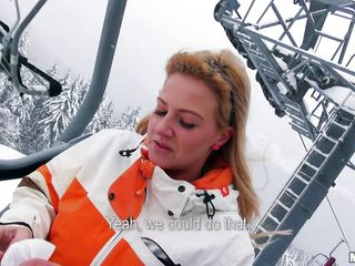 It's winter and very cold outside on that ski track but Nathaly shows us her big sweet boobs for some cash. She's one hell of a blonde, a pretty face, long hair and big hot boobs. Nathaly is a greedy bitch and for some extra cash she will do a lot, wanna find out what?