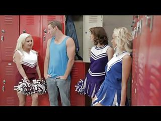 Sexy slutty cheerleaders have lost the game and want to thank their young coach for his time. He starts kissing the whores, while they are taking his clothes off. What is better than sharing a big hard cock with your team mates? Everybody is so horny and he sticks his dick into a wet shaved pussy!