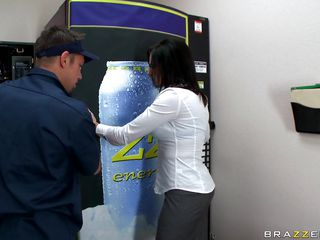 Look at that hot brunette trying to get her money from a soda machine helped by a guy who starts touching her boobs. Look at her long hair, her big tits and her sexy tattoo while she gets her tight pussy fingered. Is she going to get some spunk on her juicy lips?