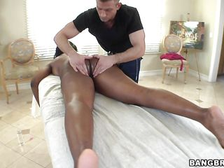 It is his play ground and this mature ebony slut has no chance of stopping him not that she wants him to stop in first place. he starts on her ass cheeks and goes on to rub her breasts with oil and goes between her thighs to stroke and she returns the favor by giving head and receiving an anal fuck