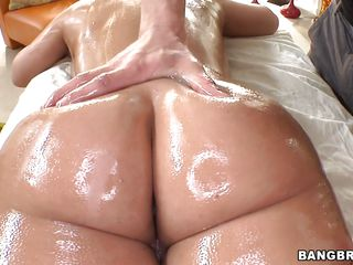 Watch this brunette slut, her big oiled ass, hot big breasts and sexy legs makes you wanna cum on her and fill her cunt with hot sperm. She gets that hot booty massaged and then opens her legs revealing a shaved pussy that is ready for hard cock. The busty slut gets down on her knees and starts giving head before taking it from behind, will she get fucked in the ass too?