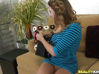 Claire Heart is a gorgeous brown haired teen craving for human cock. The hot babe enjoys sucking big meaty rods like this guy has. Watch this good looking woman taking off her clothes and fingering her pussy to get ready for a great time with her male friend. Do you like seeing her pleasuring that lucky man?