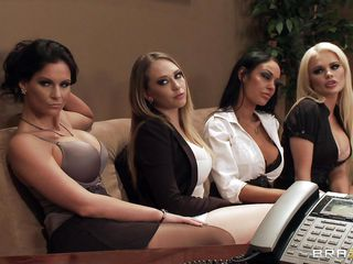 Watch those four hot babes seducing their boss for a salary raise. See how they're undressing and start touching, kissing and licking each others bobs. Seems that the boss is joining the party so they start sucking his hard cock. Somebody is getting a salary raise!