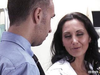 An ordinary consult turns into way more than that. Sexy brunette doctor with curly hair, black stockings and amazing body, gives her patient a blowjob that he'll never forget. She pulls out her boobs, then she is being undressed by him. What will they do next?