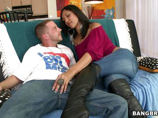 Look at this hot brunette slut Sophia Diaz sitting on a couch touching that guy making him horny. See how he takes her clothes off slowly and starts licking her big tits and than he takes her pants off. She sure does have a sexy body and a fine ass begging for some cock inside her. Will she get it?