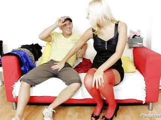 This blonde slut wearing red pantyhose is sitting on the sofa with a horny male. They start touching and playing each other body, so the guy takes off her small panties and start to lick her pussy. While he licking the vagina he discover inside another pair of pantyhose and takes it out from there.