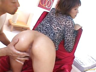 I like how Hiromi behaves in bed, she's one of those milfs that want to feel cheap when fucking. I insert my finger in her sexy ass and then fill her mouth with my erected cock. Hiromi is a slut and she swallows my penis before bending over with submission. Damn I like fucking this whore from behind, hard and deep!