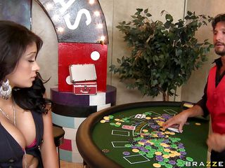 A very hot twenty two year old brunette plays a game of blackjack with the dealer. After loosing to him she has to let him play with her boobs. She starts to slowly take her top off showing us her big perfect boobs. Look at her face as this guy starts licking and squeezing her gorgeous big boobs.