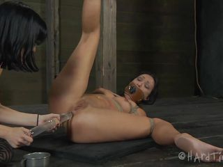 After being ass fucked with sex toy the brunette worthless slut receives a bucket to sit on. That tight anus is being ripped my her executor and just to be sure that she won't have constipation problems anymore he puts her to take a dump. Darling, you have no self esteem and we love to watch you that way