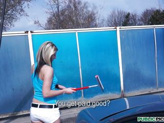 It's Spring Break, time for the teens to be out partying or relaxing, but not Tracy. She's working at the car wash for extra money, doesn't make much (and isn't very good), and no boyfriend! So sad.... Maybe our cameraman can give her a nice tip to smile about, or a hard cock in her mouth and pussy....