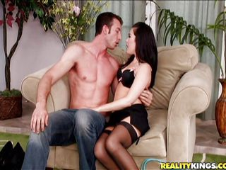 Look at this horny brunette milf with her attractive body and small natural boobs. Isn't she hot? After much chatting she and her man decided to spend so special times and he helps her to undress. Then he spreads her legs and pulls that panties to give a pleasing fingering to that hairy bush.