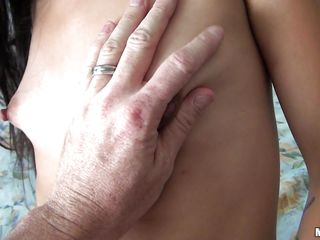 Cammie Rhodes was making a surprise striptease video for her boyfriend when he walked in and took the camera up himself. She lays on the bed and after some fingering, he bangs her shaved, tight, wet pussy on the bed.