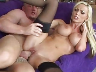 Tight ass blonde with huge pierced tits in stockings gets boned hardcore