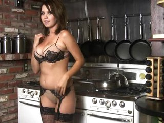 Busty Brunette Chrissy Marie Getting Naked In The Kitchen