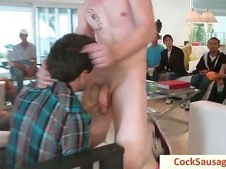 Guy gets his cock sucked at party