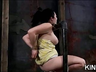Busty brunette babe loves BDSM