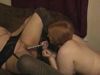 Chubby gals have some fun dildo play